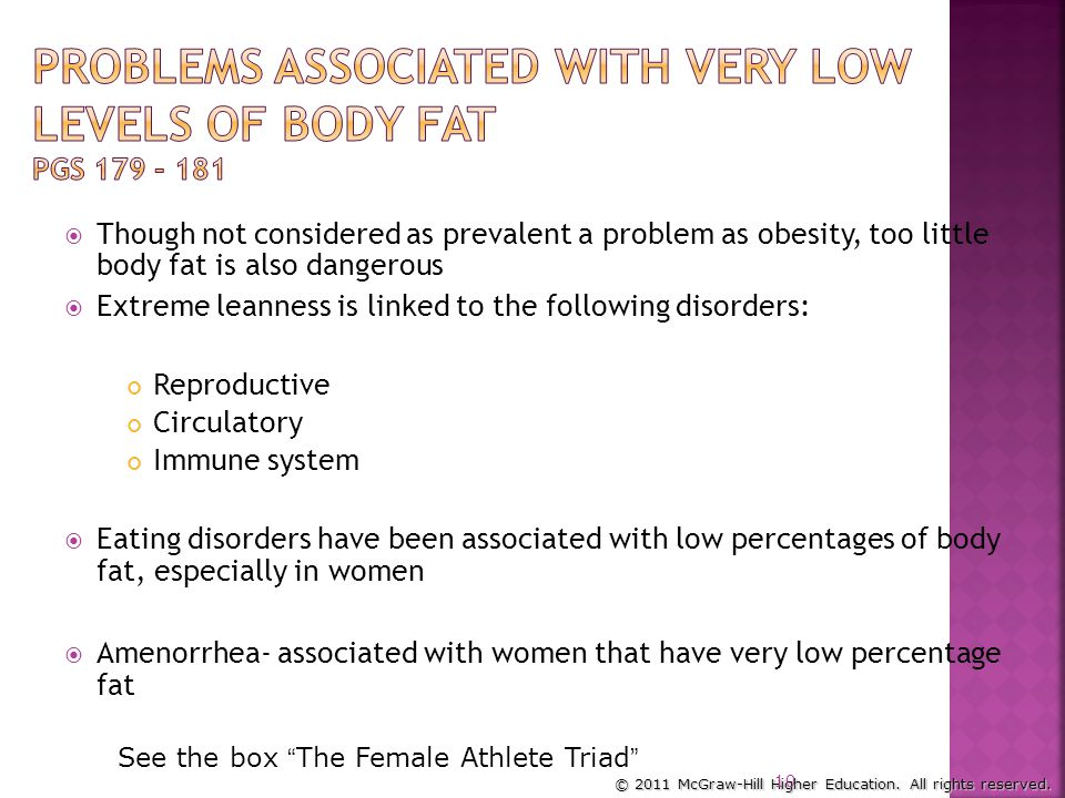 Problems Associated with Very Low Levels of Body Fat pgs 179 - 181
