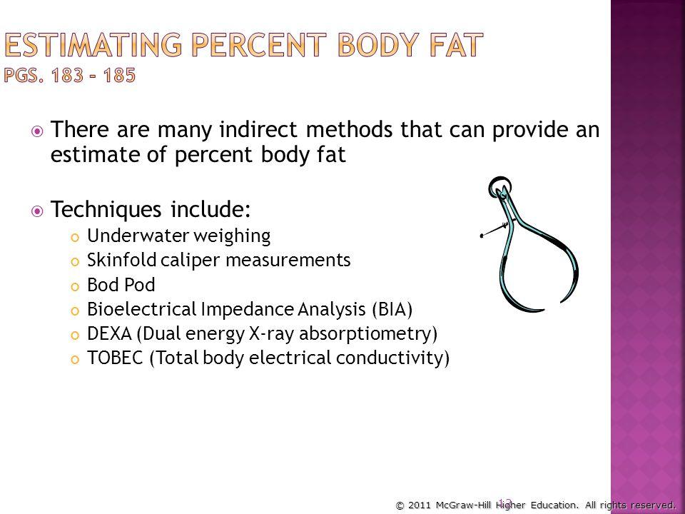 Estimating Percent Body Fat pgs. 183 - 185