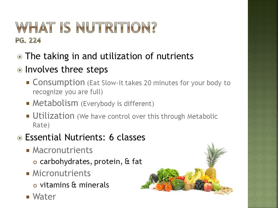 What is nutrition Pg. 224 The taking in and utilization of nutrients