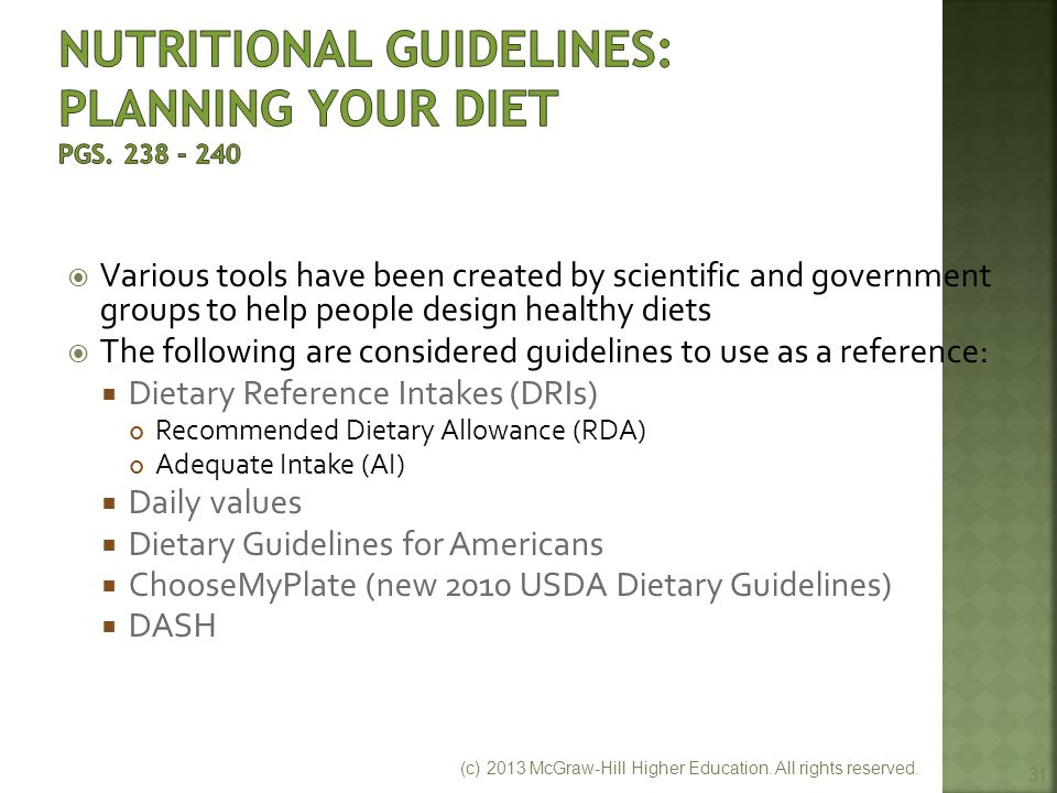 Nutritional Guidelines: Planning Your Diet pgs. 238 - 240