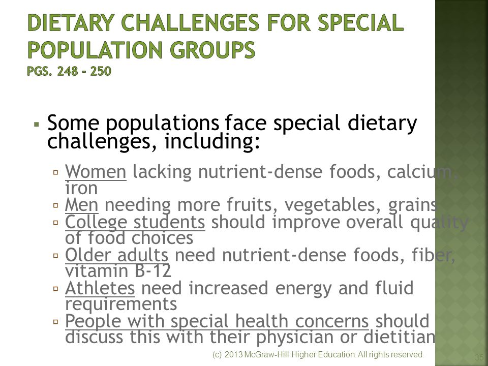 Dietary Challenges for Special Population Groups pgs. 248 - 250