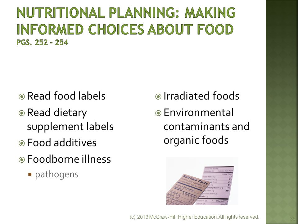 Nutritional Planning: Making Informed Choices About Food pgs. 252 - 254