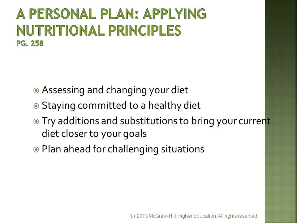A Personal Plan: Applying Nutritional Principles pg. 258