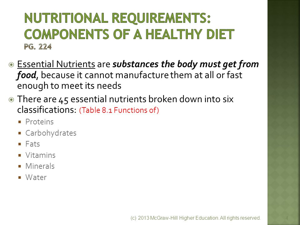 Nutritional Requirements: Components of a Healthy Diet Pg. 224