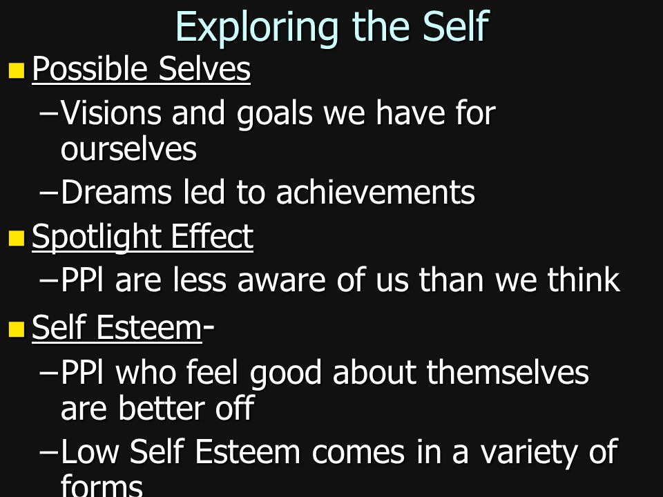 Exploring the Self Possible Selves