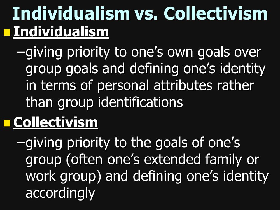 Individualism vs. Collectivism