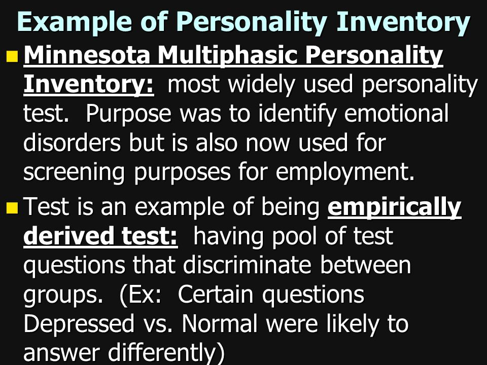 Example of Personality Inventory