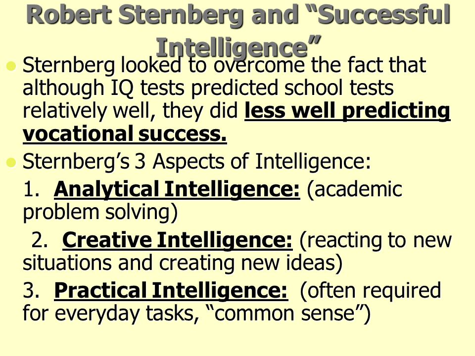 Robert Sternberg and Successful Intelligence