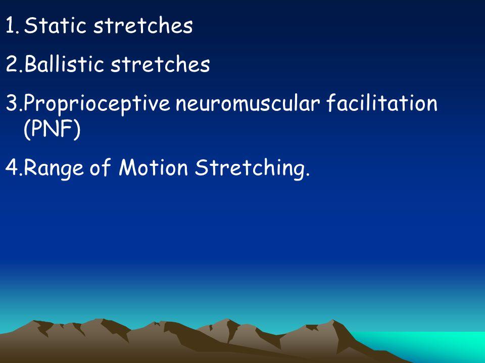 Static stretches Ballistic stretches.