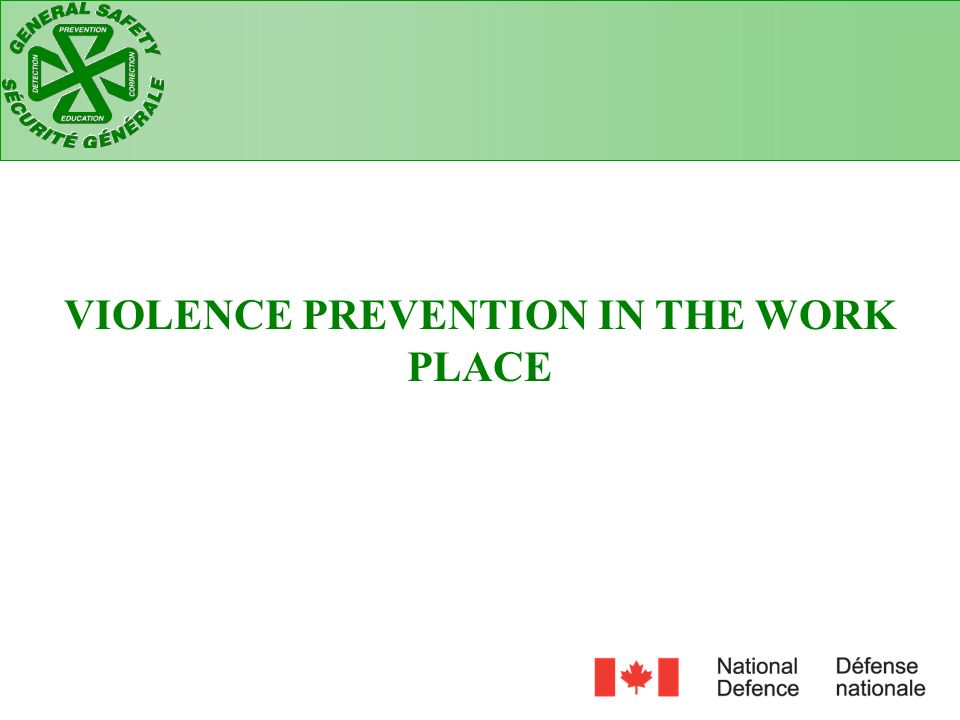 VIOLENCE PREVENTION IN THE WORK PLACE