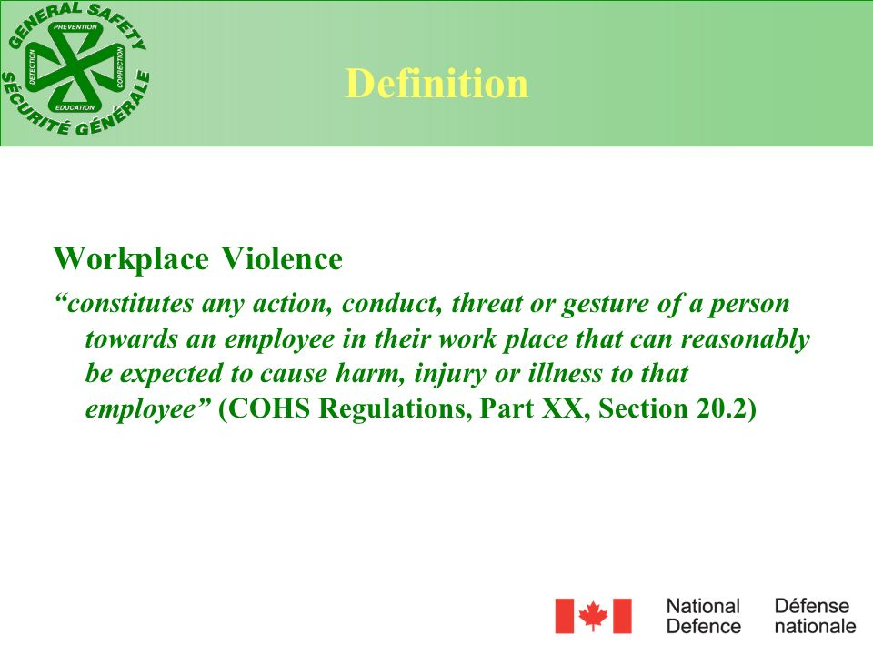 Definition Workplace Violence