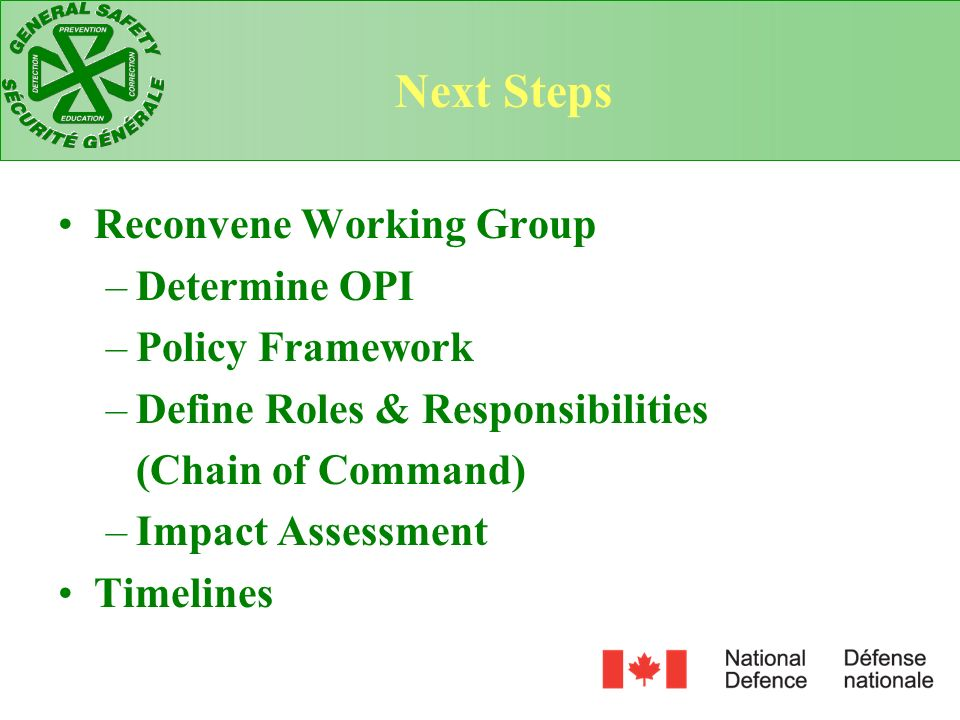 Next Steps Reconvene Working Group Determine OPI Policy Framework