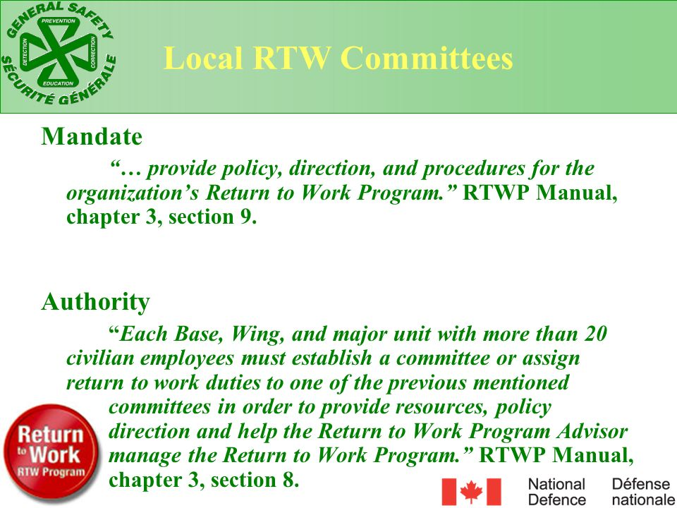 Local RTW Committees Mandate Authority