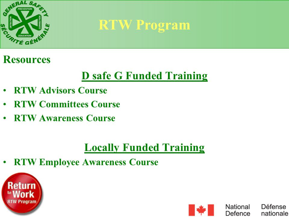 D safe G Funded Training Locally Funded Training