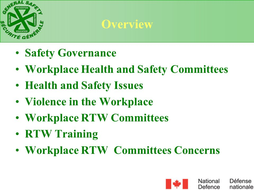 Overview Safety Governance Workplace Health and Safety Committees