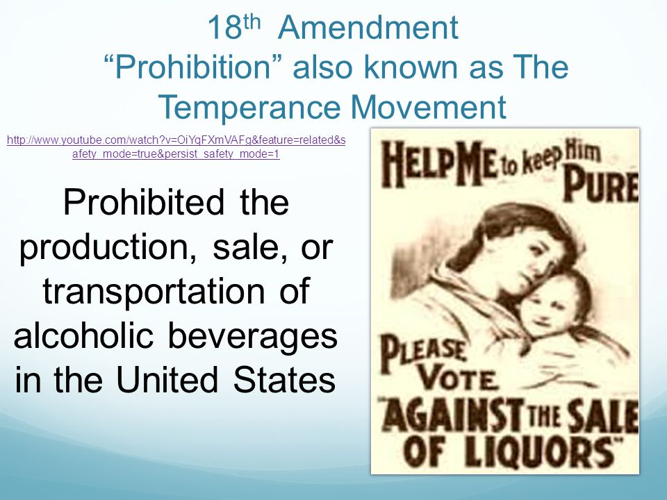 a history of the prohibition and the progressive movement in the united states The temperance movement, discouraging the use of alcoholic beverages, had been active and influential in the united states since at least the 1830s since the use of alcohol was often associated with such social ills as poverty and insanity, temperance often went hand in hand with other reform .