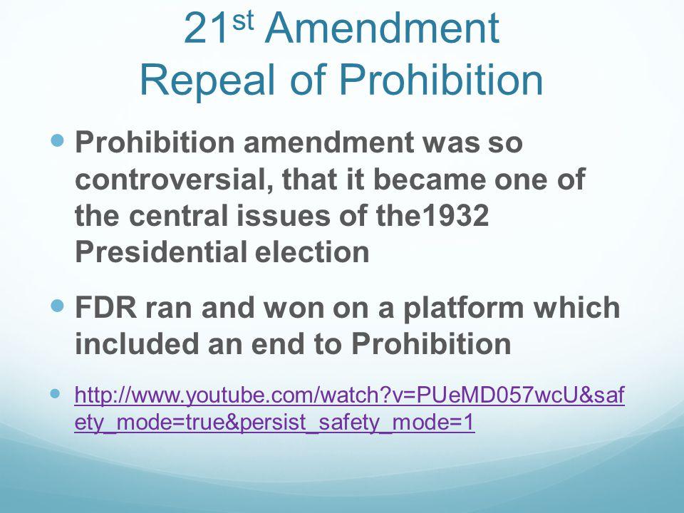21st Amendment Repeal of Prohibition