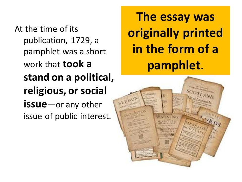 The essay was originally printed in the form of a pamphlet.