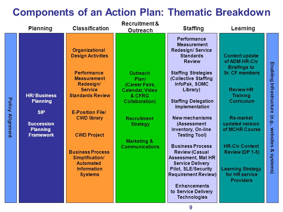Components of an Action Plan: Thematic Breakdown