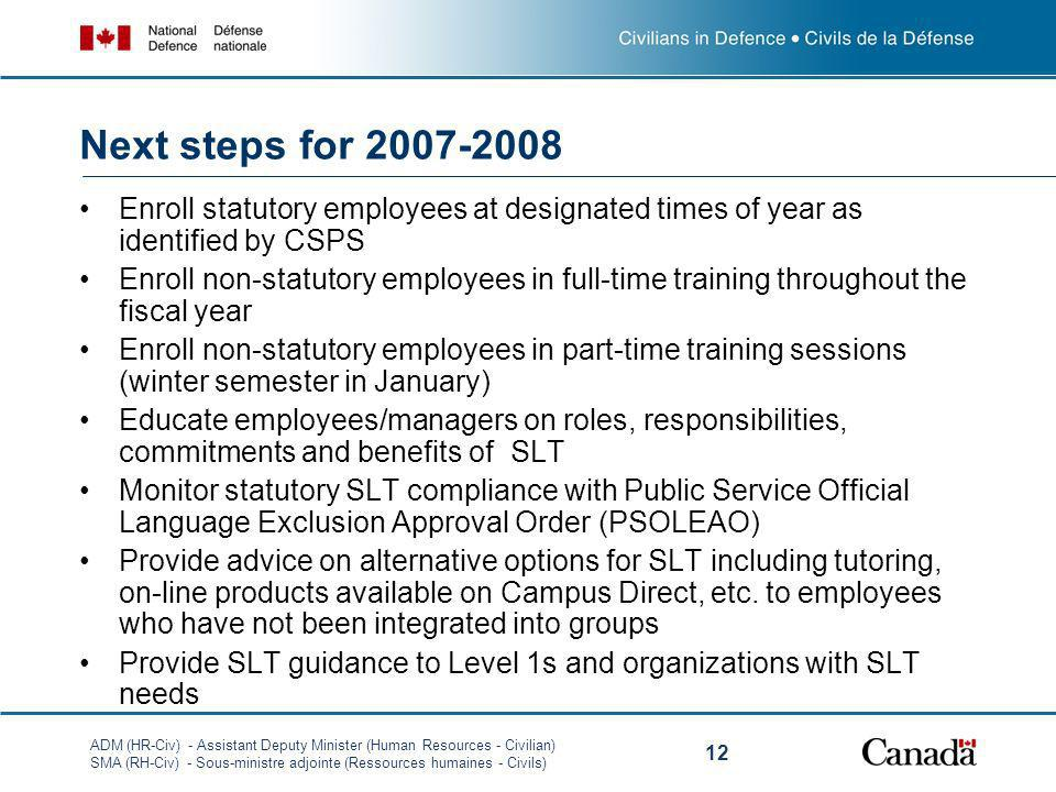 Next steps for 2007-2008 Enroll statutory employees at designated times of year as identified by CSPS.