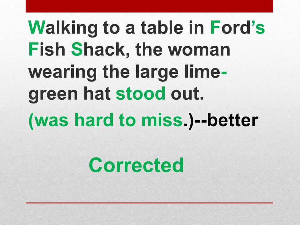 Walking to a table in Ford's Fish Shack, the woman wearing the large lime-green hat stood out.