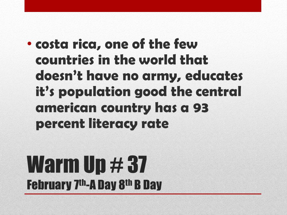 Warm Up # 37 February 7th-A Day 8th B Day