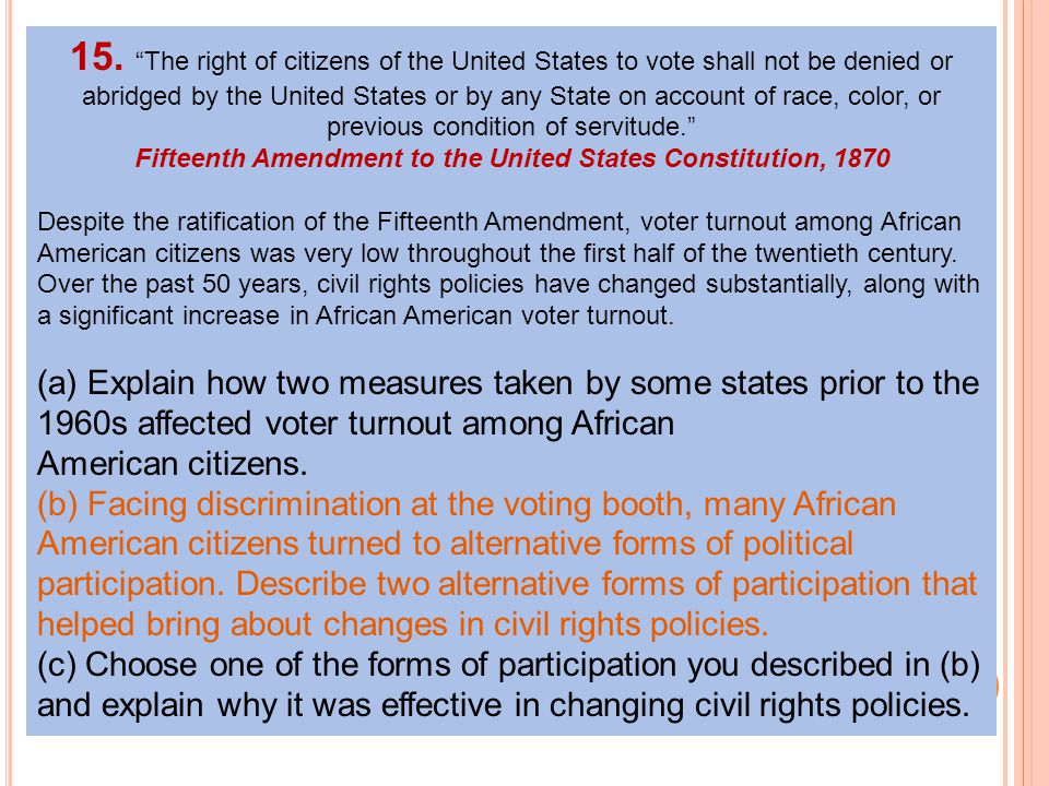 Fifteenth Amendment to the United States Constitution, 1870