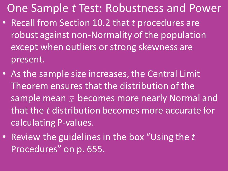 One Sample t Test: Robustness and Power