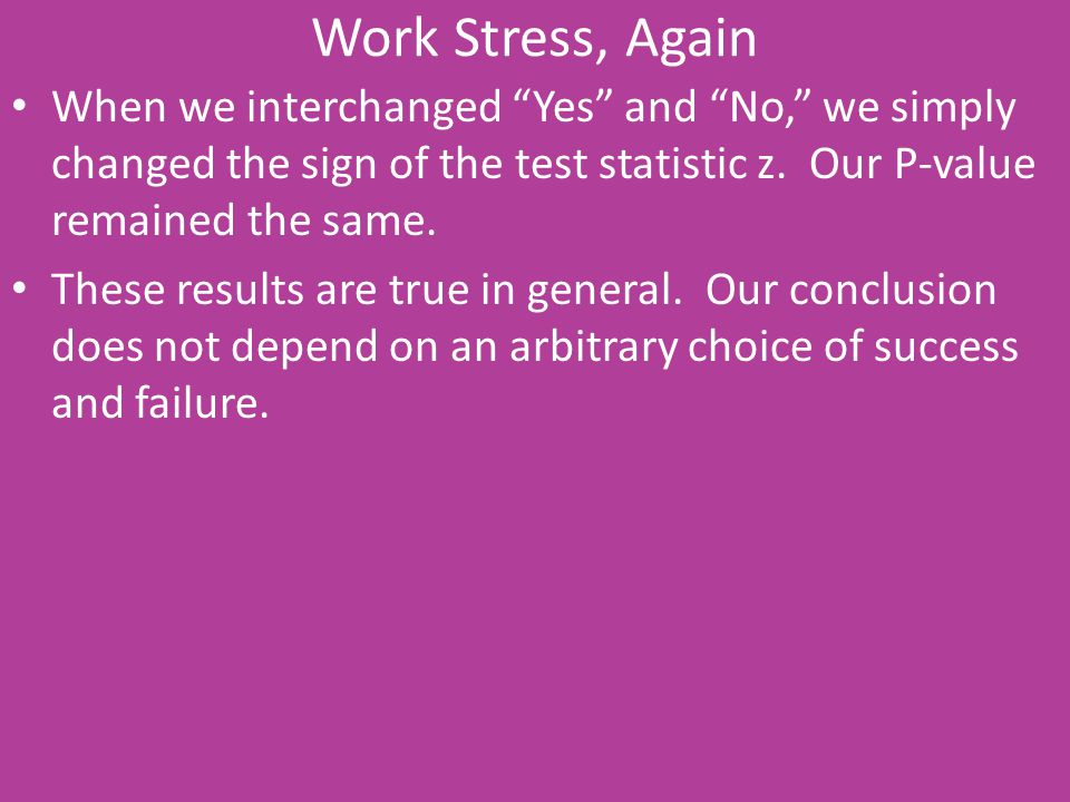 Work Stress, Again When we interchanged Yes and No, we simply changed the sign of the test statistic z. Our P-value remained the same.