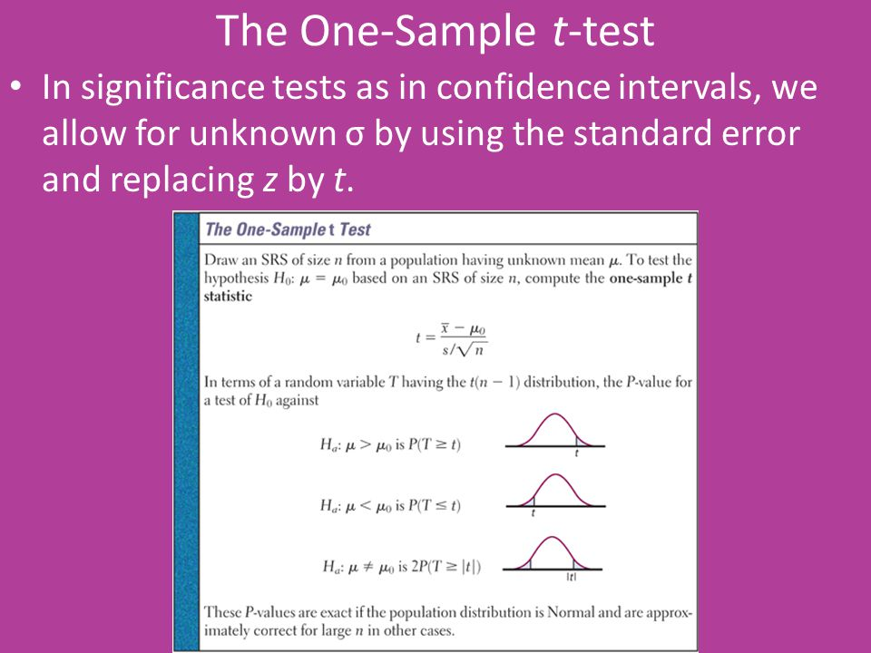 The One-Sample t-test In significance tests as in confidence intervals, we allow for unknown σ by using the standard error and replacing z by t.