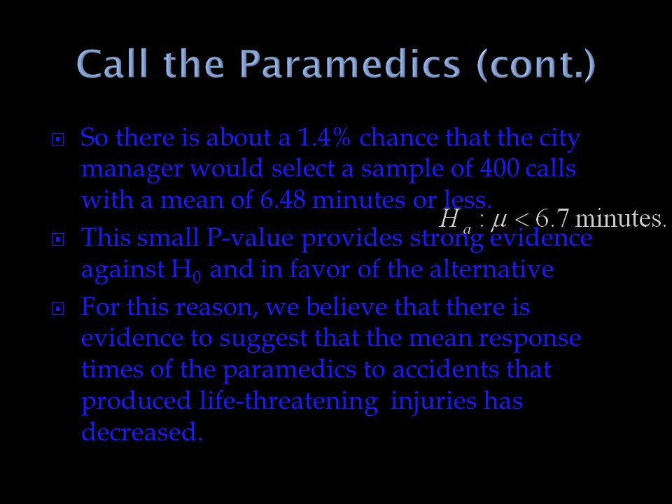 Call the Paramedics (cont.)