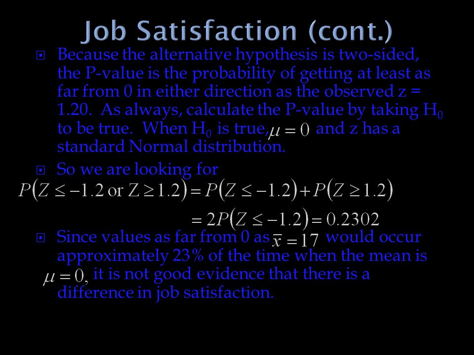 Job Satisfaction (cont.)