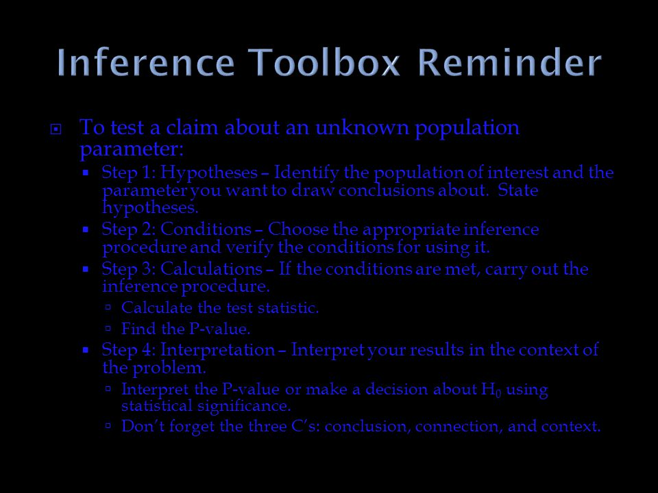 Inference Toolbox Reminder