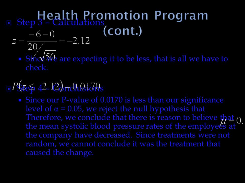 Health Promotion Program (cont.)