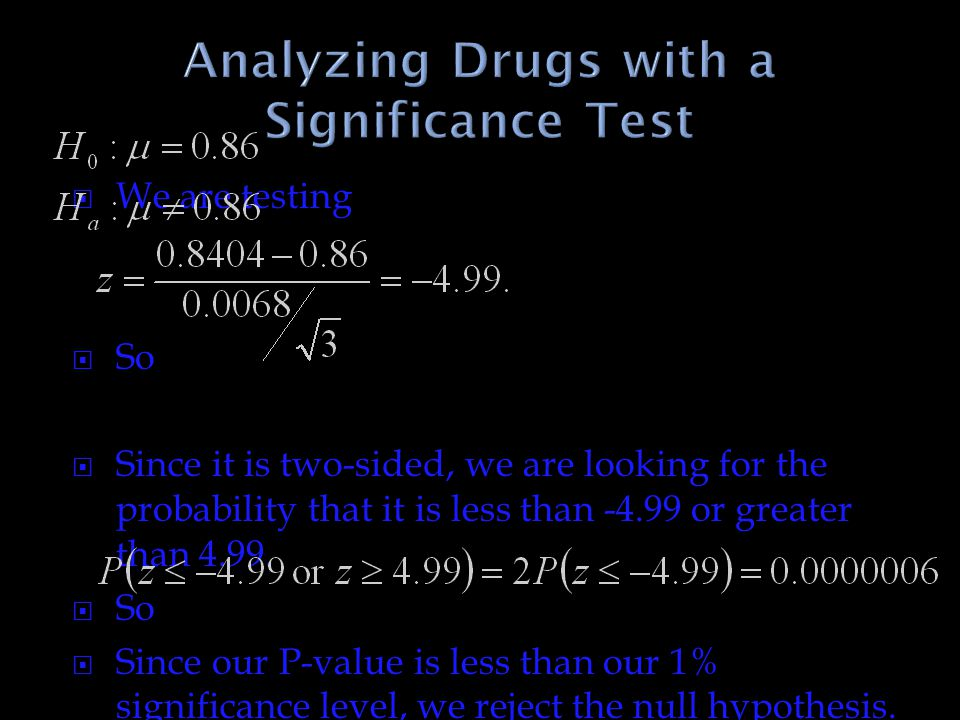 Analyzing Drugs with a Significance Test