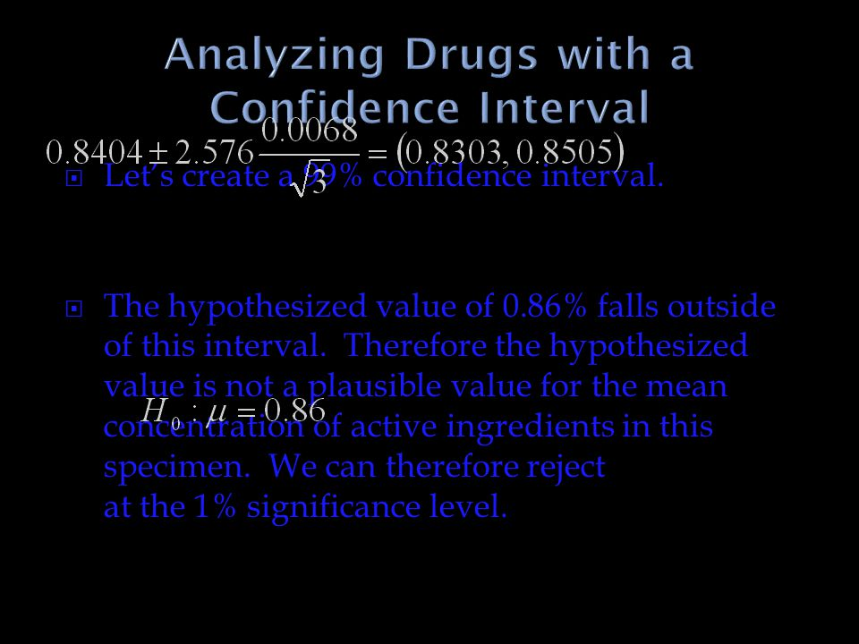 Analyzing Drugs with a Confidence Interval