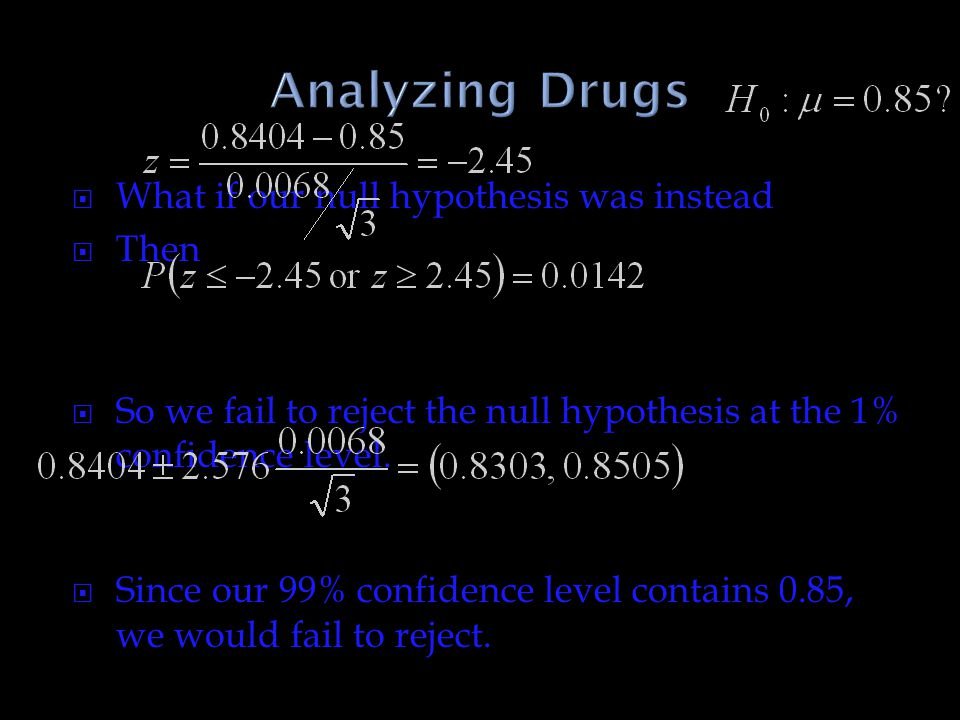 Analyzing Drugs What if our null hypothesis was instead Then