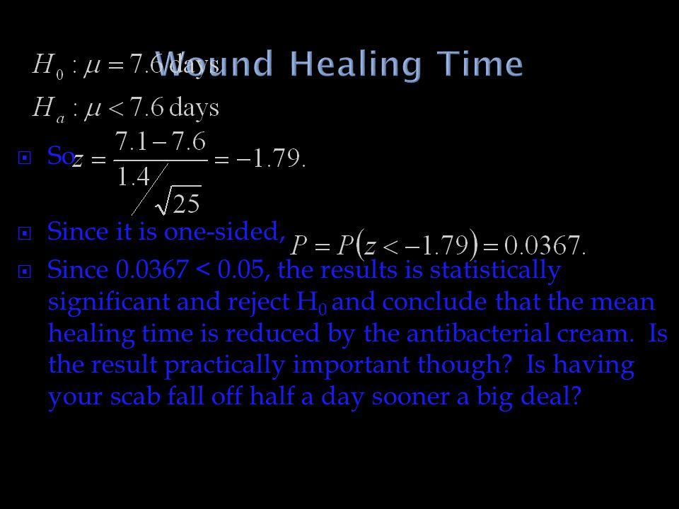 Wound Healing Time So Since it is one-sided,