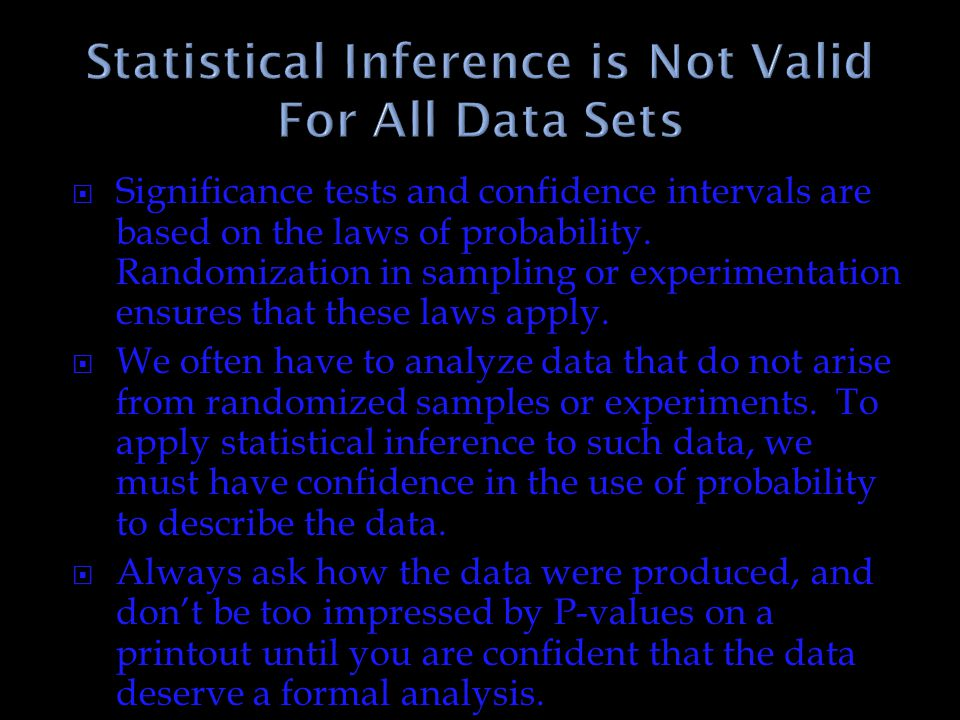 Statistical Inference is Not Valid For All Data Sets