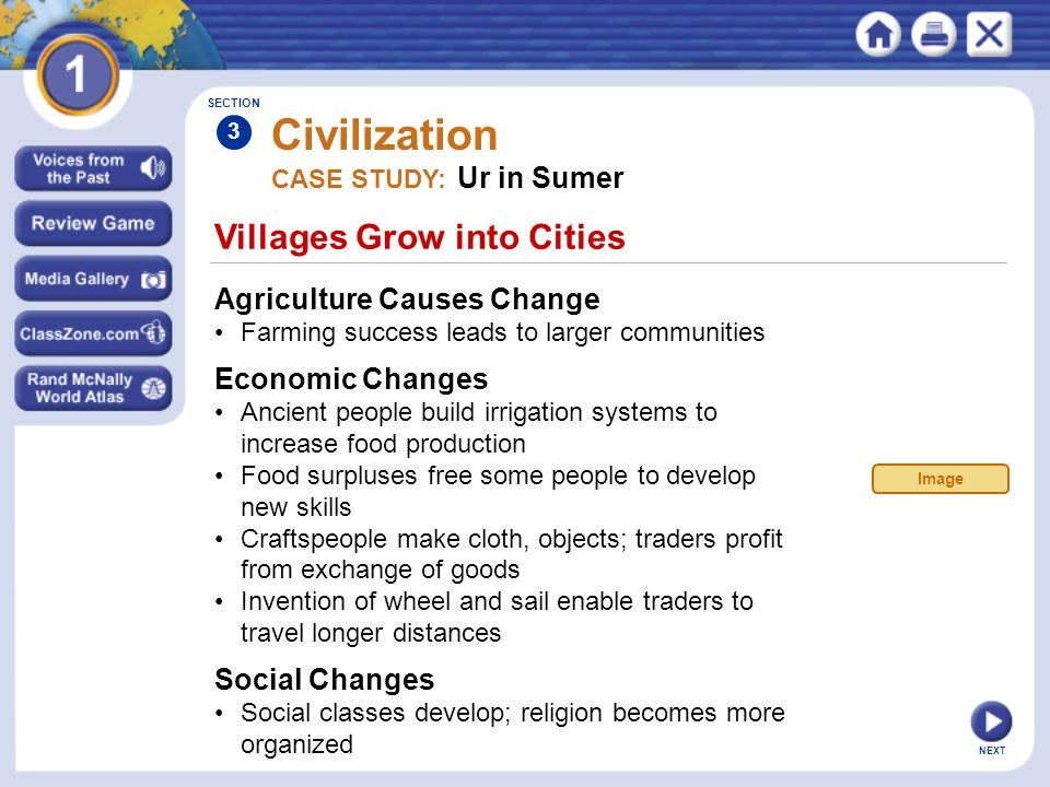 Civilization Villages Grow into Cities Agriculture Causes Change