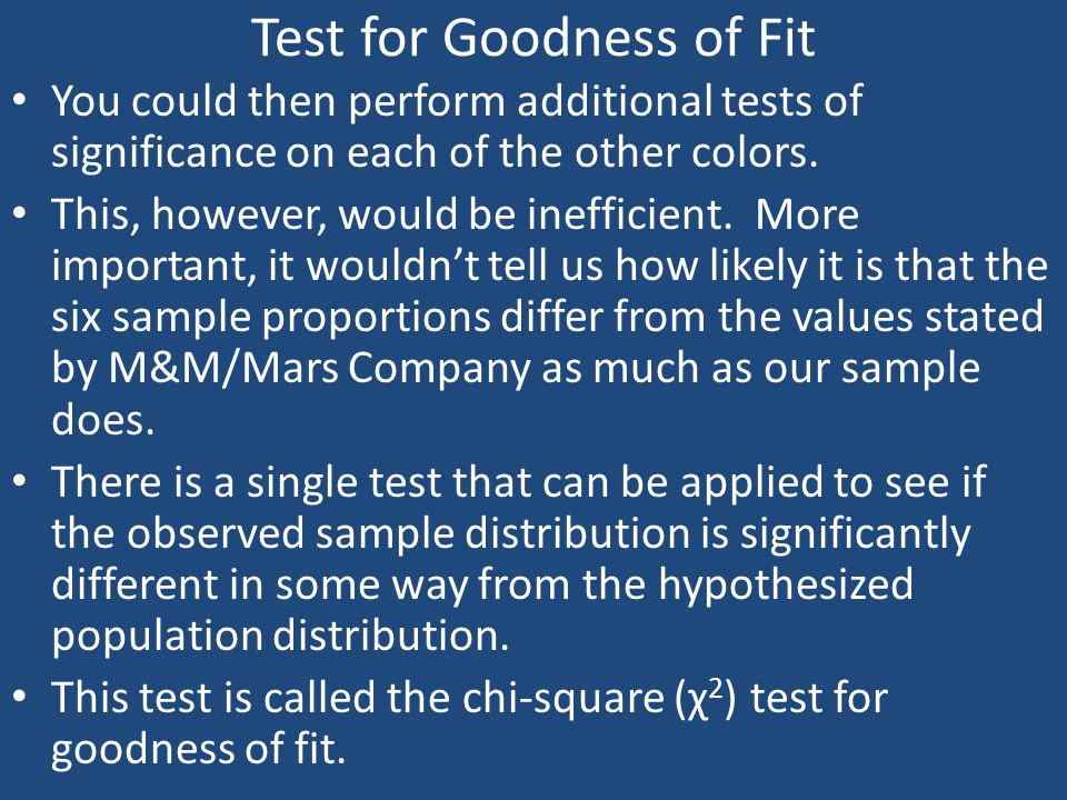 Test for Goodness of Fit