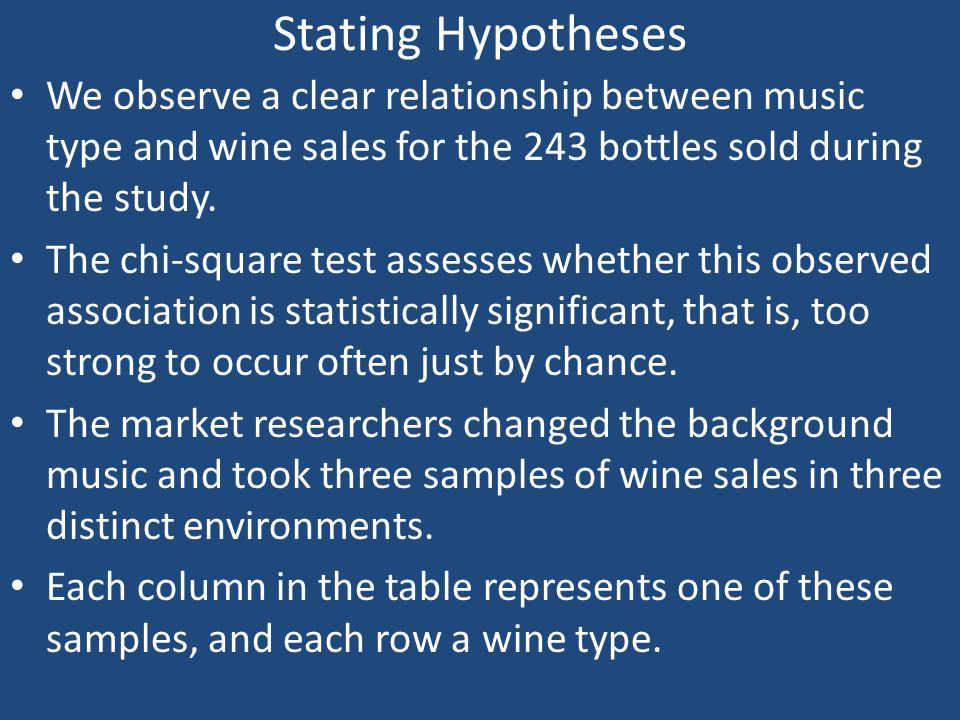 Stating Hypotheses We observe a clear relationship between music type and wine sales for the 243 bottles sold during the study.