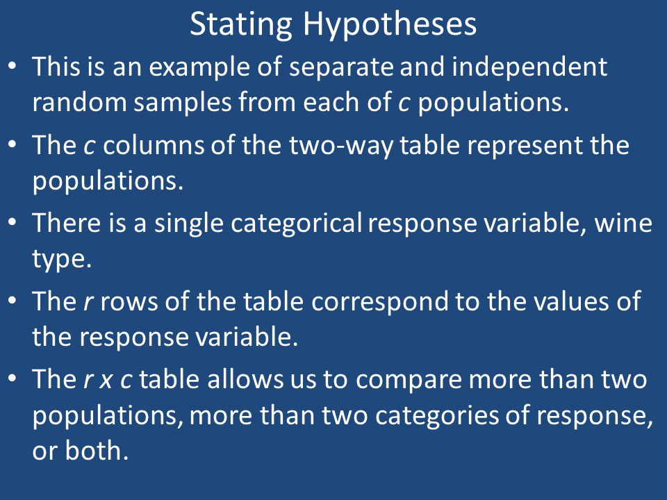 Stating Hypotheses This is an example of separate and independent random samples from each of c populations.