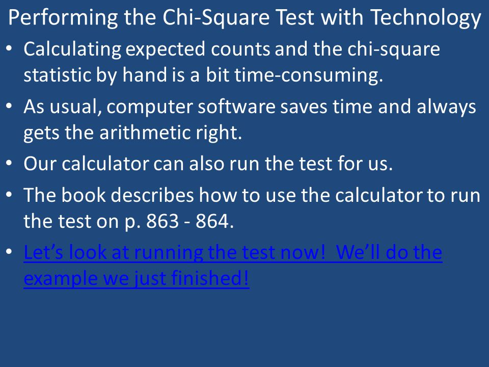 Performing the Chi-Square Test with Technology