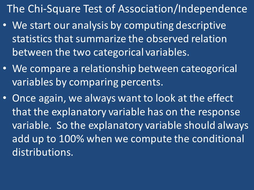 The Chi-Square Test of Association/Independence