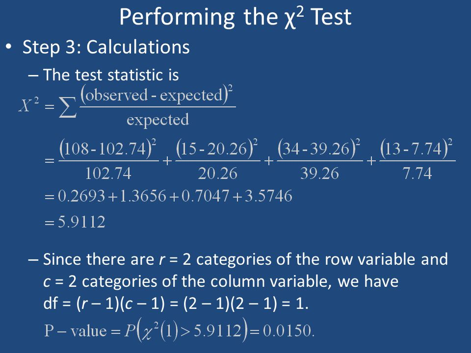 Performing the χ2 Test Step 3: Calculations The test statistic is