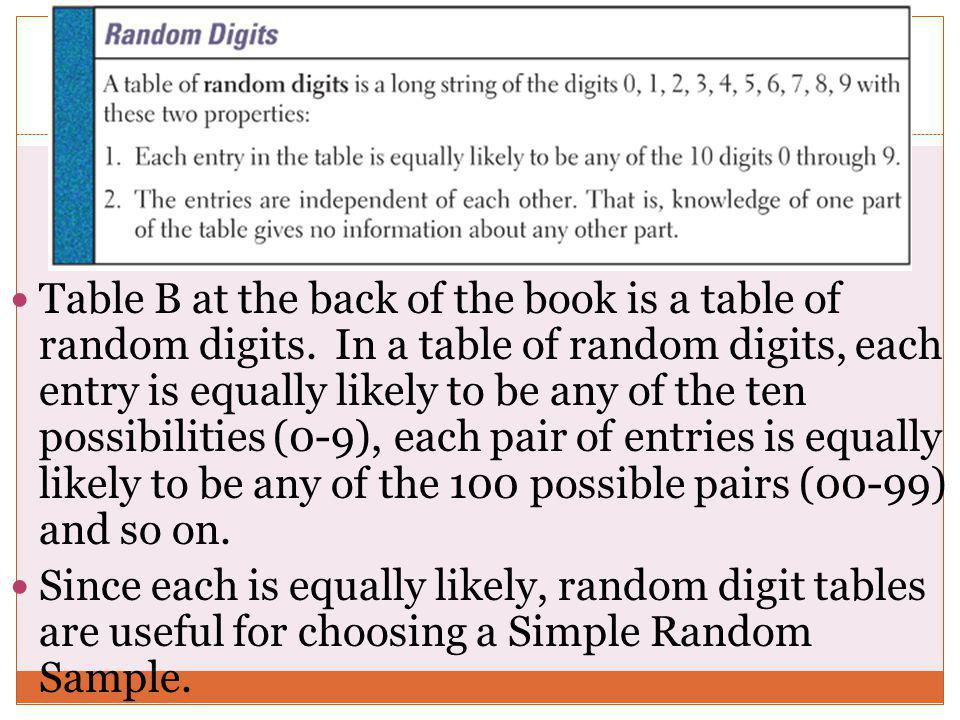Table B at the back of the book is a table of random digits