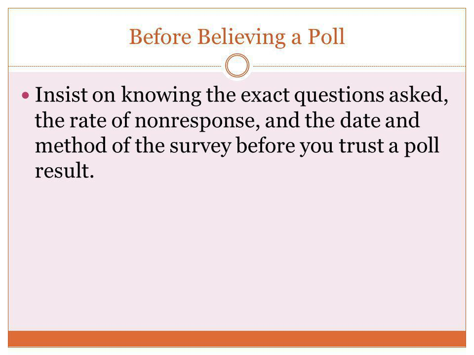 Before Believing a Poll