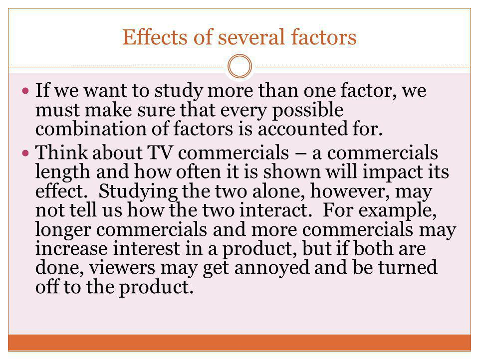 Effects of several factors