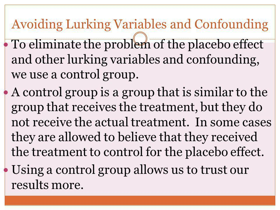 Avoiding Lurking Variables and Confounding